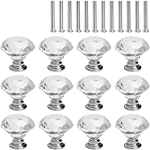 TIMESETL Crystal Glass Knobs - 30 mm Handle Pull for Kitchen Cabinet Drawer Dresser and Cupboard - Pack of 12