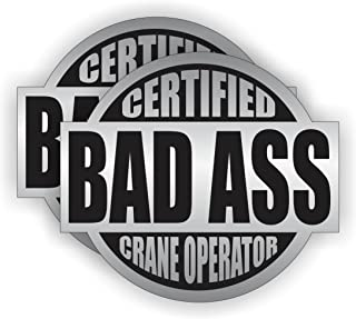 Bad Ass Crane Operator Hard Hat Sticker / Helmet Decal Label Lunch Tool Box