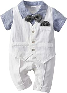JooNeng Baby Boy Cotton Gentleman Romper One Piece White Baptism Formal Tuxedo Outfit