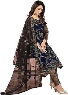 فستان هندي للسيدات من بوليوود بتصميم أزرق داكن مناسب لحفلات النساء والرجال - فستان مشدود - رداء مسلم باكستاني 6091