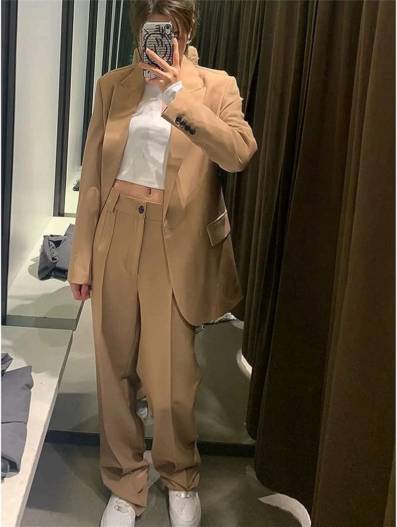 Women Elegant Blazer and Trousers 2 Piece Set, Office Lady Chic Blazer Outfits