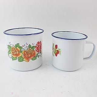 LXHDKDT Tasse à bière en émail, Tasse à thé nostalgique, Style Chinois, thé à café Calibre 6cm et 8cm
