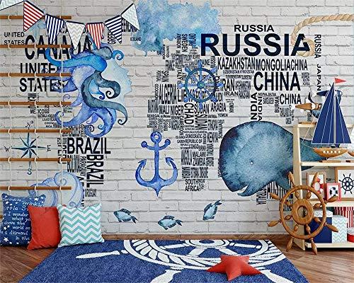 HDDNZH muurschildering Custom 3D grote muurschildering behang in aquarel nautisch symbool wereldkaart TV sofa achtergrond muur kinderkamer slaapkamer huis decoratie 290cm(H)×480cm(W)