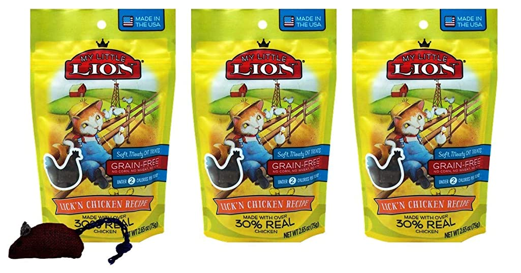 My Little Lion Grain Free Cat Soft Meaty Lick'n Chicken Flavor with Catnip Mouse Toy Bundle, 2.65 Ounces (Pack of 3)