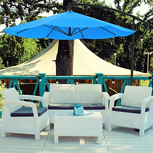 Pure Garden 50-LG1039 Patio Umbrella, Cantilever Hanging Outdoor Shade, 10 ft, Brilliant Blue