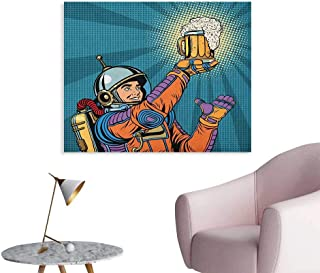 Astronaut Photo Wall Paper Colorful Astronaut Holding Beer Thirsty for Beer Long Voyage Retro Style Drawing The Office Poster Multicolor W28 xL20
