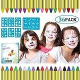 Lictin Visage Peinture Enfants - 36pcs de Peinture Faciale Crayon Maquillage Enfant, Idéal pour Noël, Fêtes, Carnaval, Cosplay with 48 Stencils