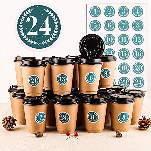 Adventskalender DIY Set, 24 DIY Adventskalender Kaffee-Becher, Adventskalender Zum Befüllen und Basteln, Hochwertige Recycelbare Kaffeetassen mit Deckel, 24 Weihnachtsnummernaufkleber (Cyan-Nummer)