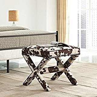 Modway Rivet X-Base Entryway Modern Bench With Velvet Cowhide Upholstery and Nailhead Trim