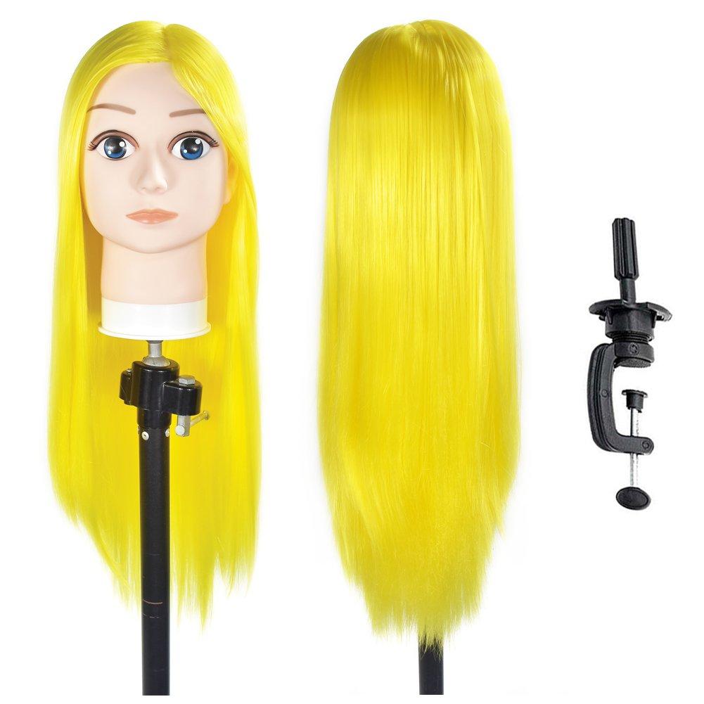 制約ラフカーフ練習用 編み込み練習用 ウィッグマネキンヘッド ヘアアクセサリーセット 美容室サロン 100% 合成髪
