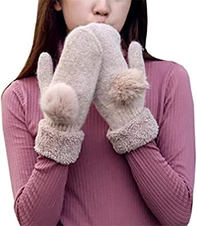 SGJFZD Winter Gloves Women Warm Inverted Cashmere Cotton Gloves Thermal Outdoor Gloves (Color : Pink, Size : OneSize)