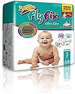 FlyFix TRFFXBD100010 Baby Diapers, Ultra Comfort and Protection, Midi, (4-9 kg) - 64 pcs, Unisex