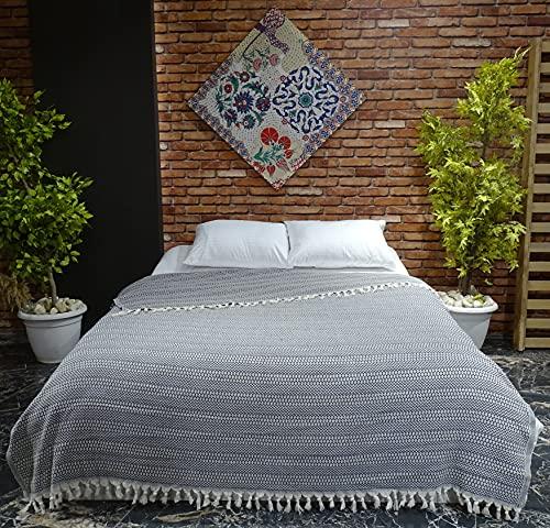 VAROL Diamond Colcha, Ropa de Cama turca, Manta de sofá, Manta de Cama, Manta de algodón Ligera turca 200 cm x 230 cm (Negro)