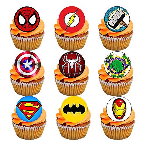 Superhero Cupcake Toppers, Spiderman Hulk Ironman Superman Batman, 35x1.5inch Precut Edible Wafer Paper, CHOCKACAKE Cupcake Decorations for Boys