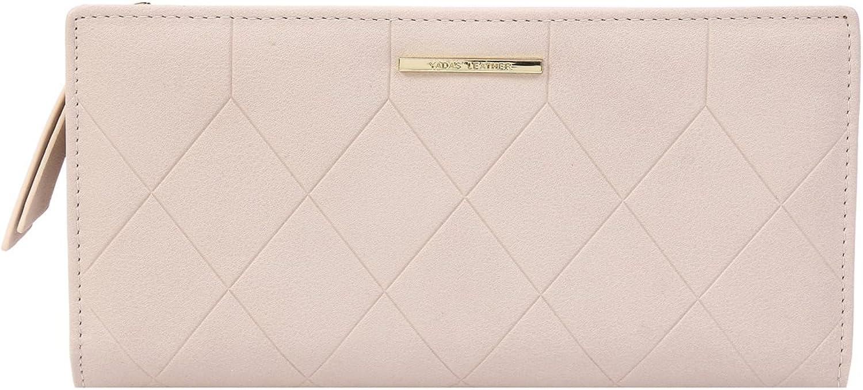 Damara Womens Elegant Simple Zipper Bifold PU Organizer Clutch Wallet,Pink