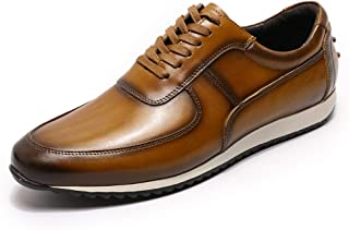 Men's Lace-up Casual Oxford Walking Shoes, Lightweight and Wear-Resistant Leather Shoes