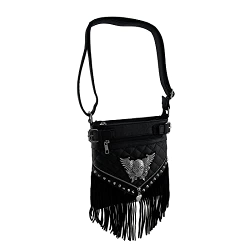 91dffced5675 Quilt Stitched Winged Sugar Skull Fringed Concealed Carry Crossbody Purse