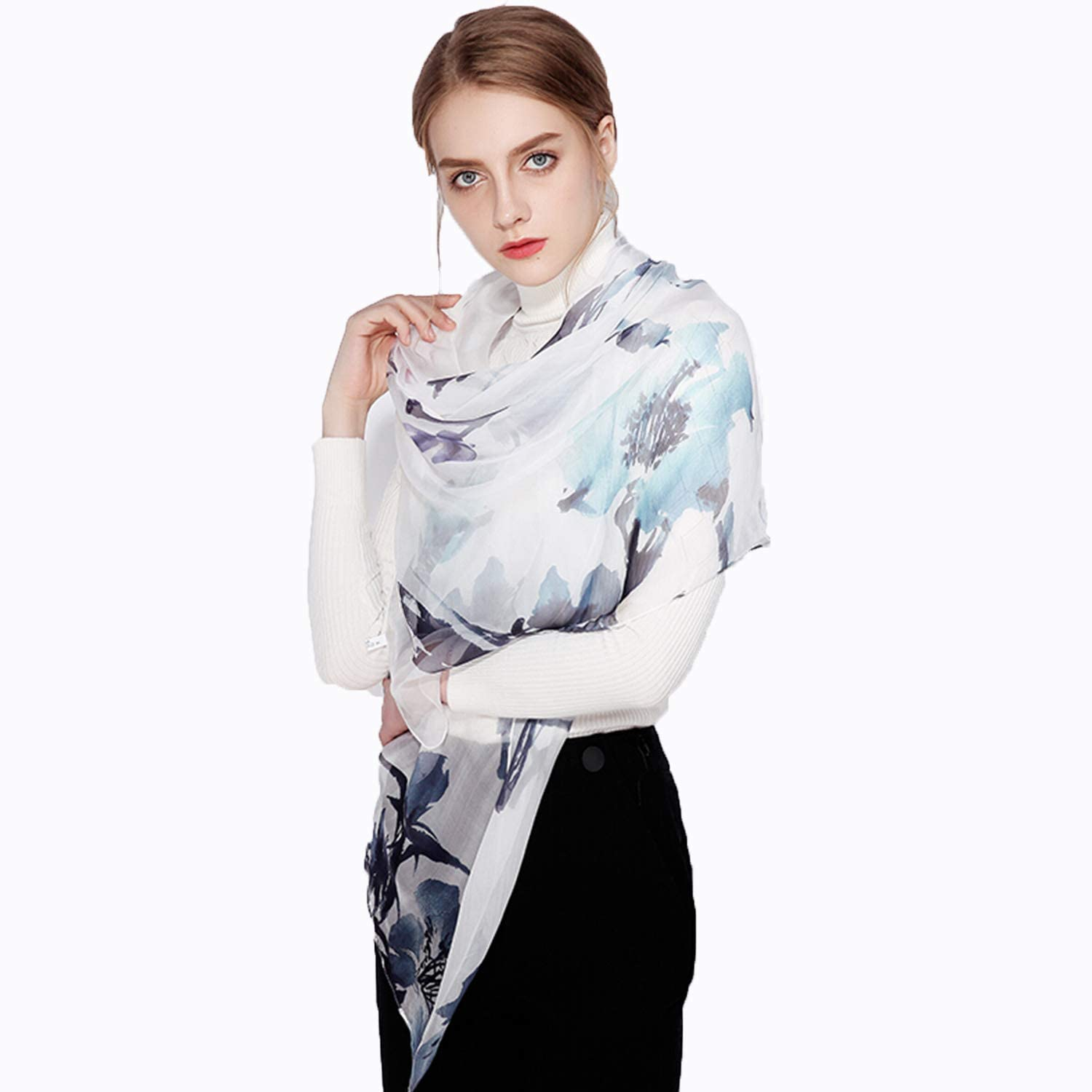 Silk Printed Scarf for Women,Fashion Casual Soft Wrap Shawl for Ladies & Girls Autumn Winter Wear,180 X 65cm