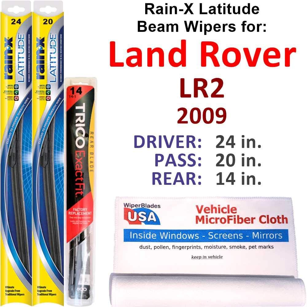Rain-X security Safety and trust Latitude Beam Wipers for 2009 Land Rear Rover LR2 w R Set