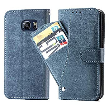Asuwish Galaxy S6 Edge Wallet Case,Leather Phone Cases with Credit Card Holder Slim Kickstand Stand Shockproof Rugged Flip Folio Protective for Samsung S6Edge S 6edge Women Girls Men Blue