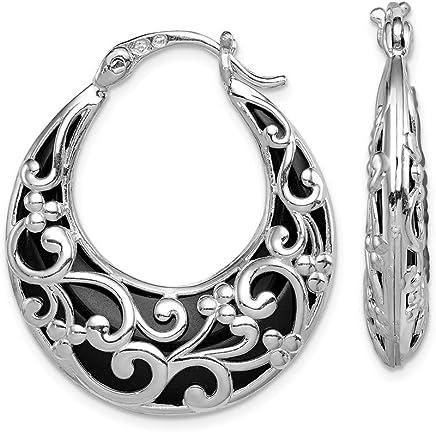 3e326e4d8 925 Sterling Silver Black Onyx Hinged Post Stud Hoop Earrings Ear Hoops Set  Fine Jewelry Gifts