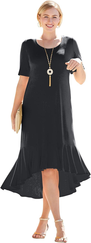 Jessica London 現品 Women's Plus Size Everyday Hem 全店販売中 Flounce Knit Maxi