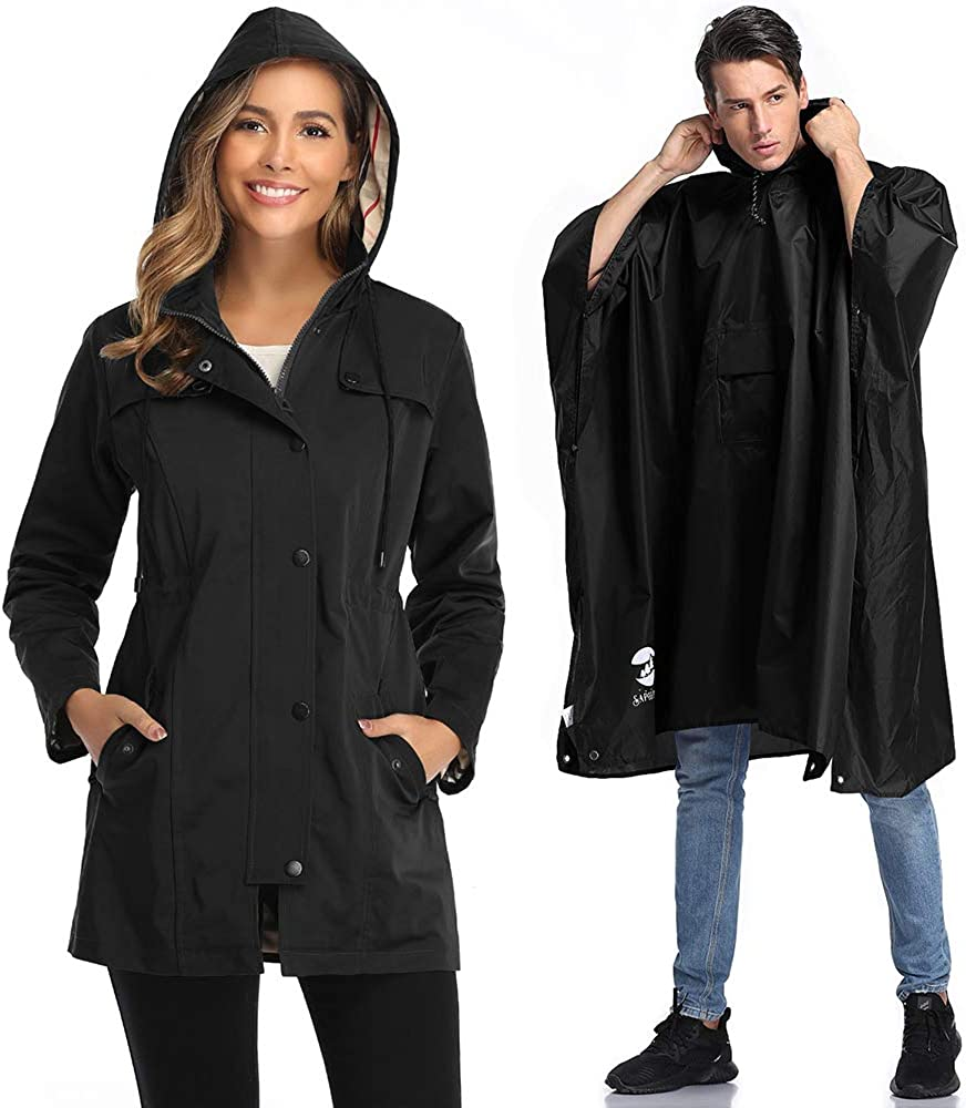 1 Plus Size Rain Poncho Los Angeles Mall with 2021 model Black Coat Water-resistant