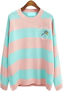 Fashion Women's Harajuku Kawaii Cartoon Pullover Stripes Oversized Sweater