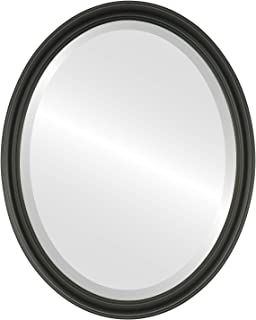 Oval Beveled Wall Mirror for Home Decor - Saratoga Style - Matte Black - 22x26 outside dimensions