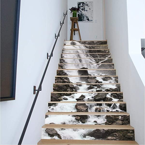 MISSSIXTY 13pcs 7 08 H X39 37 W Creative Decorative 3D Waterfall Mountain Self Adhesive Stair Riser Decal Stair Stickers Decals Wallpaper For Walls Kitchen Bathroom Stair Decals Home Decorations