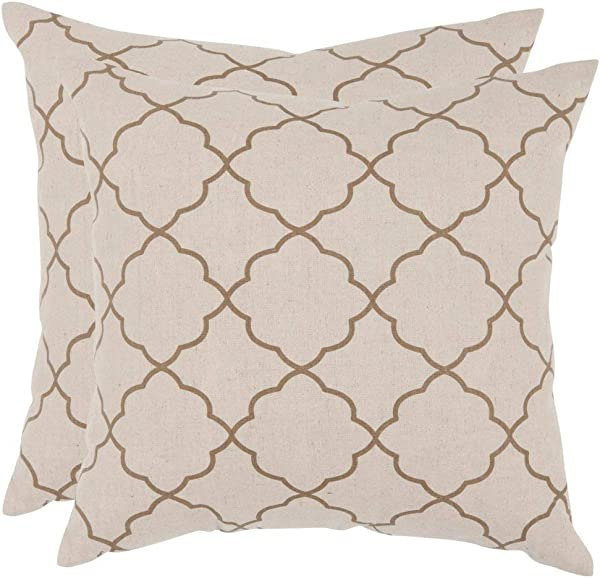 Safavieh Pillows Collection Sophie Decorative Pillow 18 Inch Taupe Set Of 2
