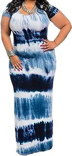 e61cb931163e WearLove Women s Plus Size Color Block Tie Dye Stripes Boho Summer Beach Long  Maxi Dresses
