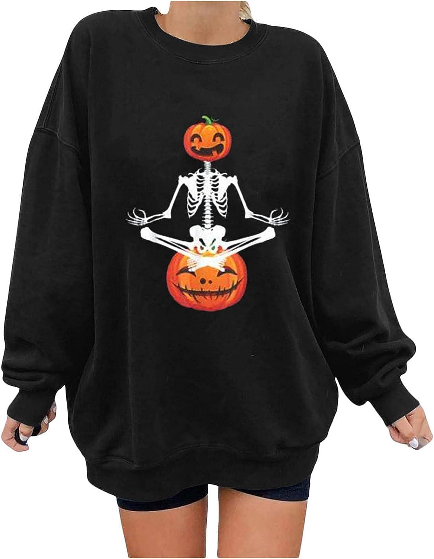 UOCUFY Womens Halloween Sweatshirts, Womens Shirts Loose Long Sleeve Skeleton Pumpkin Print Oversized Pullover Tops