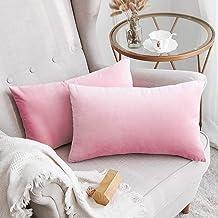 In House 2-Piece Velvet Rectangular Decorative Seat Cushion 30x50cm - Sakura