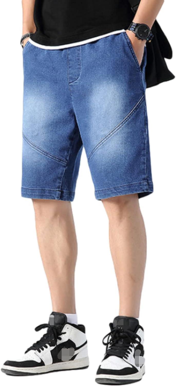 Men's Denim Shorts Summer Trend Comfortable Elasticated Waist Loose Large Size