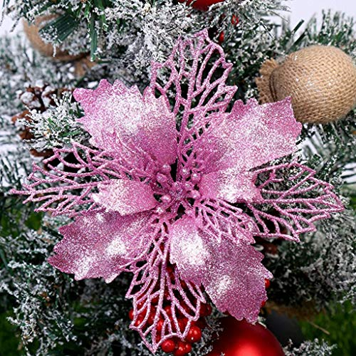 jayotai 5pcs Glitter Poinsettia Christmas Tree Ornaments Poinsettia Artificial Flowers for Christmas Decorations Christmas Xmas Ornament