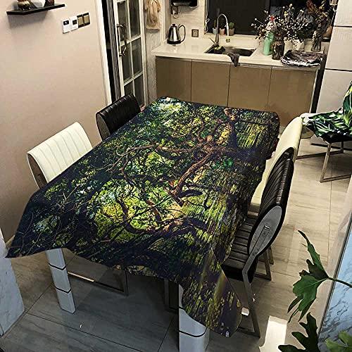 XXDD Mantel de árbol Forestal y Ciervo, manteles Frescos de Lino y algodón, decoración del jardín del hogar, Mantel de Estilo rústico Retro A5 140x200cm