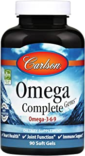 Carlson - Omega Complete Gems, Omega-3-6-9, Wild Caught, Sustainably Sourced, Heart Health, Joint Function & Immune Suppor...