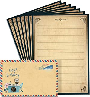 Lined Vintage Stationary Paper and Envelopes Set 48 Sheets + 24 Envelopes Old Fashion Stationery Set 7.3 Inch x 10.2 Inch