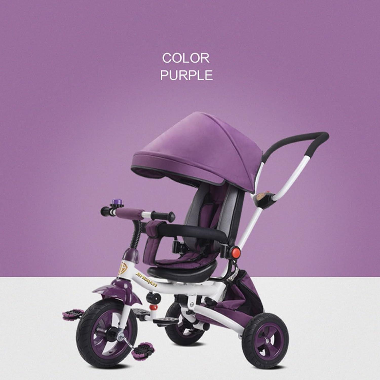 Kinder Dreirad Baby Fahrrad 1-3-5 Jahre alt Kind Spielzeug Warenkorb, leichte Folding Liegesitz drehbarer Sitz Titan leeres Rad (Farbe   Lila)