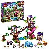 LEGO 41424 Friends Base de Rescate en la Selva Juguete de Construcción para Niños Casa de Árbol con Mini Muñecas y Animales