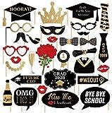 32 Stuck Graduation Photo Booth Prop Klasse von 2021 Grad Dekor mit Sticks für Kinder Junge Mädchen, schwarz und Gold, für Abschluss Party Favors Supplies Dekorationen