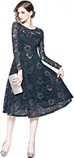 YeeNoke パーティードレス フォーマル ワンピース ミモレ丈 総レース 大きいサイズ ウェディングドレス フォーマル Aライン 体型カバー 二次会 お呼ばれ 花嫁 結婚式