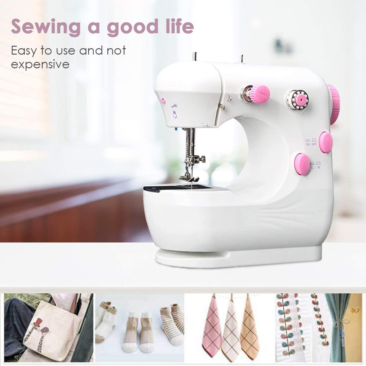 Haokaini Electric Sewing Machine Multifunction Crafting Sewing Machine Portable with Foot Pedal 2-Speed Adjustable,Mini Mending Machine Durable for Household Beginner
