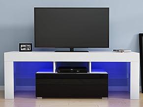 Meuble TV avec LED en Verre sur Salle de Séjour, Salon et Chambre à Coucher etc, 130 x 35 x 45 cm, Blanc+Noir