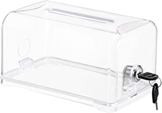 Acrylic Donation Box with Lock - Polmart Clear Ballot Box Suggestion Box Donation Boxes with Lock for Fundraising, Busines...