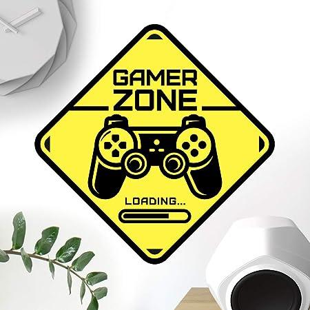 Señal de puerta de Gamer Zone calcomanía de pared arte dormitorio habitación de niños decoración de juegos de papel pintado calcomanía juego de vinilo decoración de niños niños accesorios