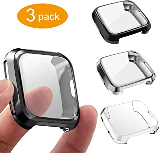 GHIJKL 3 Packs Screen Protector Compatible Fitbit Versa, Ultra Slim Soft Full Cover Case..