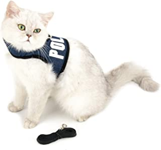 SMALLLEE_LUCKY_STORE Police Print Soft Mesh Denim Cat Harness and Leash Set for Walking Escape Proof Adjustable No Pull Choke Boy Small Puppies Kitten Rabbit Dog Harness Vest, Dark Blue