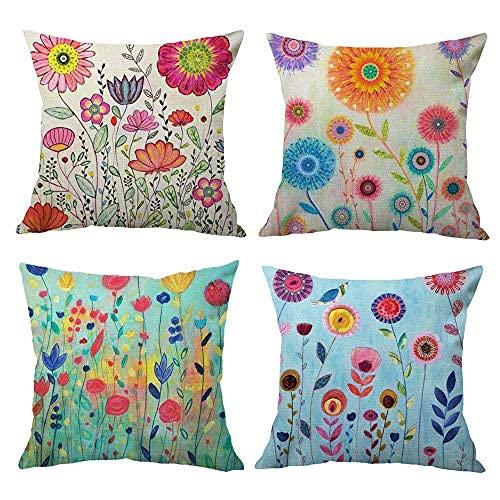 Hangood - Federa per cuscino in cotone e lino, 50 x 50 cm, 4 pezzi, 50 x 50 cm